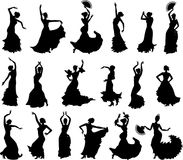 Large set of silhouettes of flamenco dancers. On white background royalty free illustration