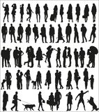 Large set of silhouettes of urban people Stock Image