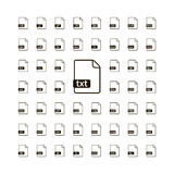 Large set of simple black file icons with most common extensions on white. Large set of simple black file icons with most common extensions isolated on white Royalty Free Stock Photos