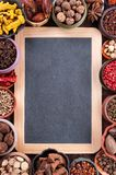 Large set of spices and seasonings, top view Stock Photo