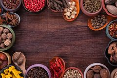 Large set of spices and seasonings top view Stock Photo