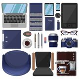 A large set of stationery and graphic design tools stock illustration