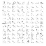 Large  set with summer and spring shoes, sandals and sneakers with different heel types. Hand drawn collection of black outl Royalty Free Stock Image