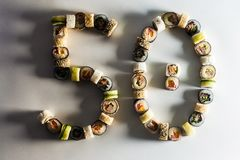 large set with sushi and rolls. royalty free stock images