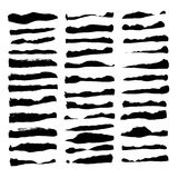 Large set of thick paint strokes isolated on white Royalty Free Stock Image