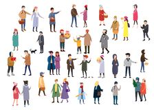Large set of tiny people, characters, dressed in winter clothes or outerwear, walks and performs outdoor activities vector illustration
