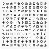 Large set of universal icons. Set of vector , black icons in a flat style. Universal icons for use in your design layouts Stock Images