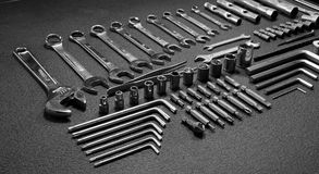 Large set of variety mechanical tools. Huge set of universal mechanics hand tools laid out in order stock photography