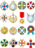 Set of various medals Stock Photos