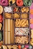 Large set of various Italian pasta and multicolor Royalty Free Stock Image