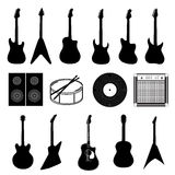 Large set of various music instruments isolated Royalty Free Stock Photography
