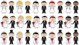 Large Set of Vector Bride and Groom Stick Figures Stock Photos