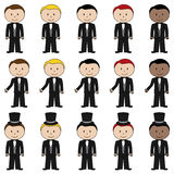 Large Set of Vector Groom Stick Figures Royalty Free Stock Photo