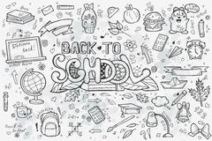 A large set of vector hand-drawn doodles back to school Stock Images