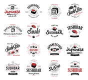 A large set of vector logos and emblems for restaurants of Japanese food in a retro style with lettering and icons and Royalty Free Stock Photo