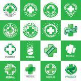 Large set of vector logos for medicine Stock Images