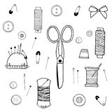 Large set of sewing supplies made of cissors, threads, needles, needle cases, buttons stock illustration