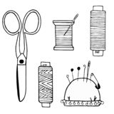 Large set of sewing supplies made of cissors, threads, needles, needle cases, buttons royalty free illustration