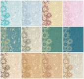 Large set of vintage floral backgrounds Stock Photography
