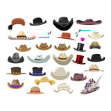 Large set of 29 vintage hats in different style Royalty Free Stock Photography