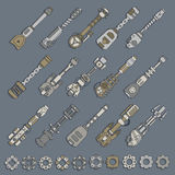 Large set of weapons and gears Stock Images
