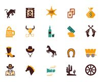Large set of Western flat vector icons Royalty Free Stock Photo