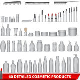 Large set of white, blank cosmetic product package. Vector large set of 60 very detailed white, blank different cosmetic products - bottles, lipsticks, combs Royalty Free Stock Photo