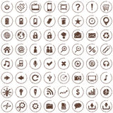 Large set of white elegant web icons. Vector large set of 64 hand drawn style web icons Royalty Free Stock Photography