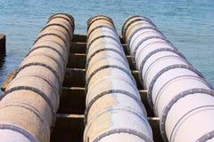 Large sewage pipes stock photos