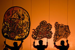 Thai performance art - Large Shadow Play Stock Photo