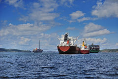 A large ship anchored. In Peter the Great Bay in Vladivostok, Russia Royalty Free Stock Photography