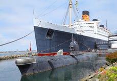 Large Ship And Submarine Royalty Free Stock Photos