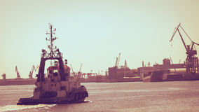 Large ship arriving in port. Stock Photography