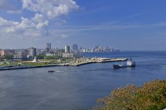 Large ship entering Havana Bay Stock Photo