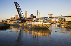 Large ship entering the port of Cleveland Stock Image