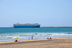 Large Ship enters Durban Harbor in South Africa Stock Photo
