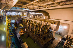 Large Ship interior - top of the huge main engine royalty free stock images