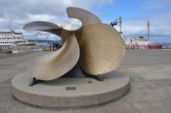 A large propeller on display in Astoria, Oregon. This is a large ship`s propeller on display in Astoria, Oregon Stock Photos