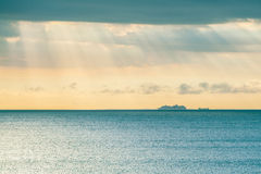 Large ship sailing across the water strip.  Royalty Free Stock Image