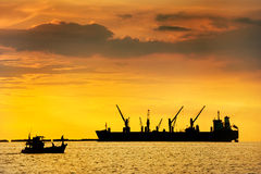 Large ship on sea. In thailand Royalty Free Stock Image