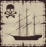 Large ship and skull over old paper Royalty Free Stock Image