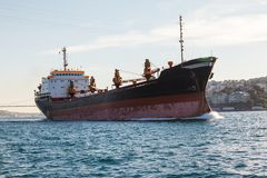 Large ship tanker proceeding along the Bosphorus Stock Photography