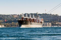 Large ship tanker proceeding along the Bosphorus Stock Images