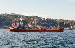 Large ship tanker proceeding along the Bosphorus Royalty Free Stock Photos