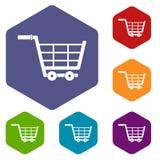 Large shopping trolley icons set hexagon Stock Photos