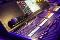 Large show sound controller with microphone Stock Image