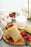 Large shredded wheats stock images