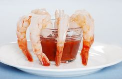 Large Shrimp With Sauce Stock Images
