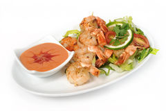 Large shrimps on plate Royalty Free Stock Images