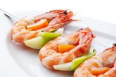 Large shrimps with vegeables Royalty Free Stock Image